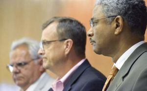 From left, Fayette County commissioners Randy Ognio, Steve Brown and Charles Rousseau. File photo.