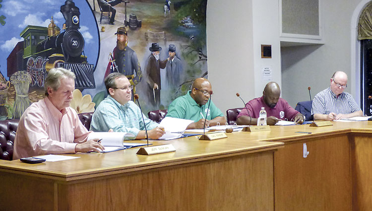 The Tyrone Planning Commission meets in June this year before a complaint about the mural was lodged. Photo/Ben Nelms.