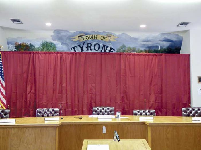 Tyrone covers up offending town hall mural