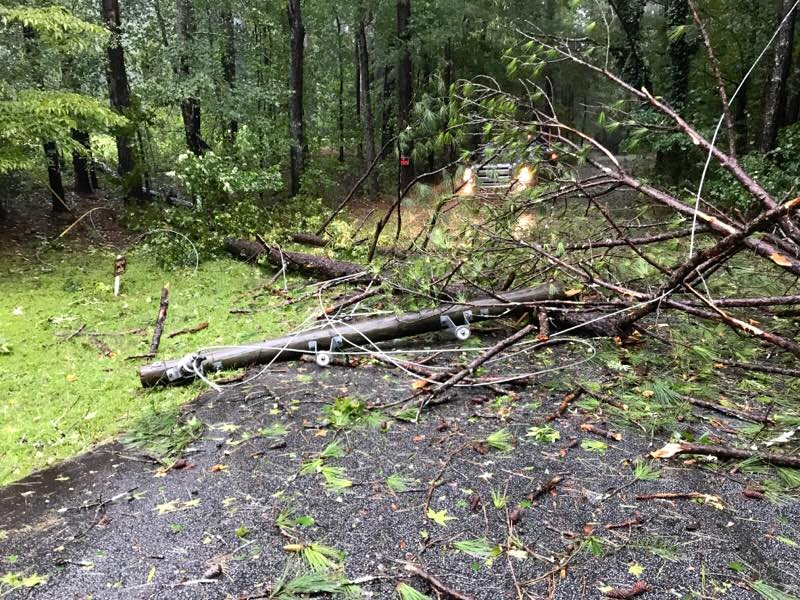 news_09-12-17_power pole and lines down on Adams Rd