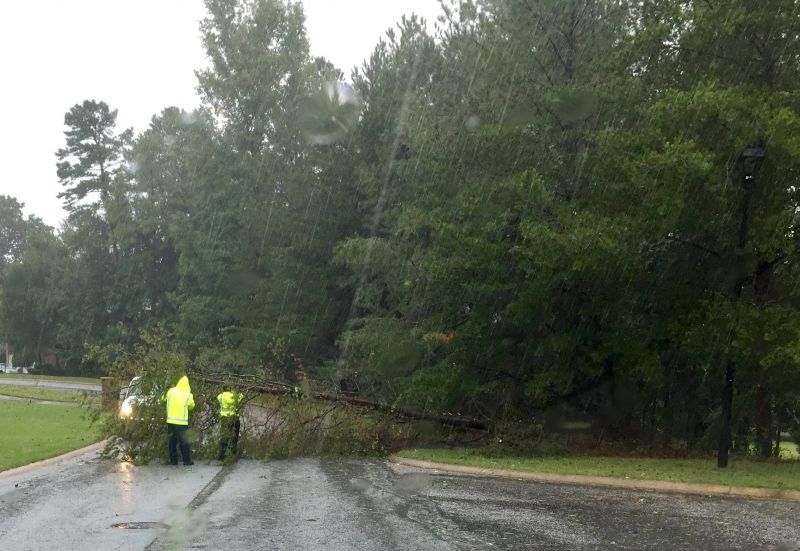 Tree down across road in Peachtree City's Southern Shore neighborhood. Photo/David Anders.