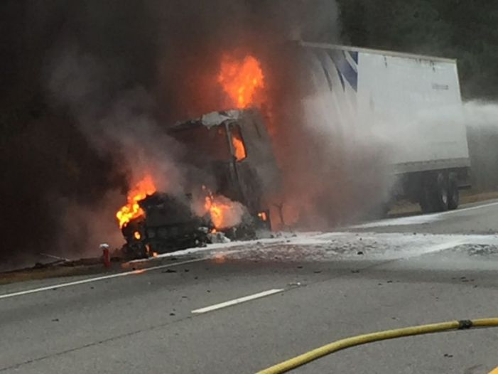 Hwy. 74 and Tyrone Rd. blocked Tuesday a.m. for vehicle fire