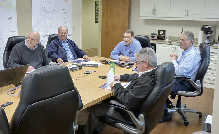 Members of the Peachtree City Water and Sewerage Authority board include, clockwise from left, John Oakey, Bob Grove, Chairman John Dufresne, Frank Ward and Jon Rorie. Photo/Ben Nelms.