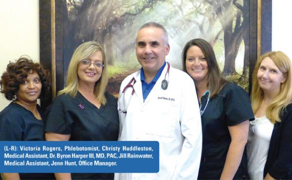 (L-R): Victoria Rogers, Phlebotomist, Christy Huddleston, Medical Assistant, Dr. Byron Harper III, MD, PAC, Jill Rainwater, Medical Assistant, Jenn Hunt, Office Manager.