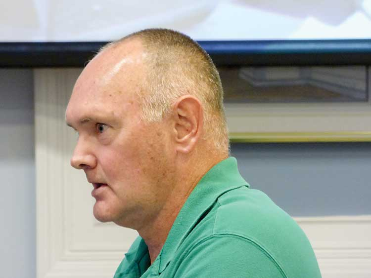 Fayette County resident Terry Martin was one of two dozen speakers at the July 13 meeting of the Fayette County Commission where the county's animal shelter was a very hot topic. Photo/Ben Nelms.