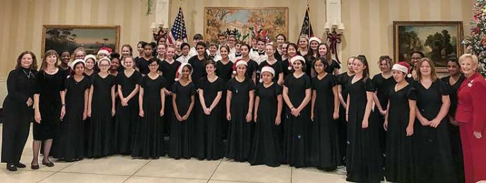 Booth 8th grade chorus performs at Governor's Mansion